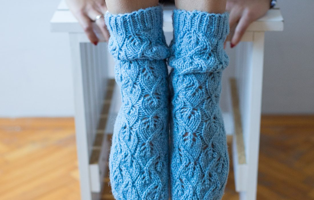 НИТИ светло плаве чарапе